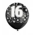 """Helium Ballonnen """"Bedrukt""""; 16 Jaar (Zwart)"""