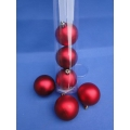 6x Kerstbal (Rood) Mat