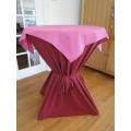 Statafel+Afrok Bordeaux/Rood+Roze Afdekkleedje (kompleet)