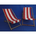2x Strandstoel (Rood/Wit)